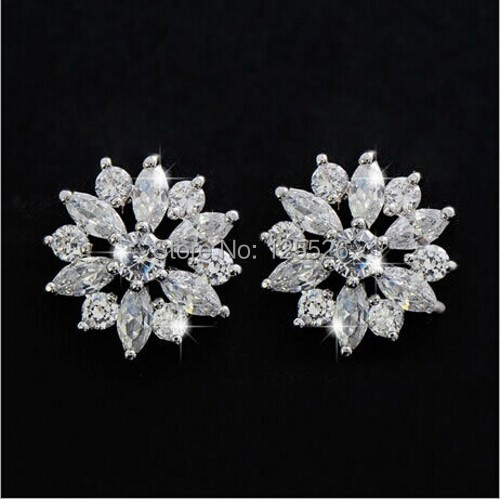 celebrity Style Sparkling Flower Style Simulated diamond 10KT Gold Filled Stud Earrings Hot Gift(China (Mainland))