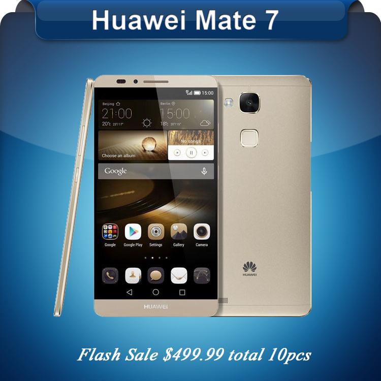 "Original Huawei Ascend Mate 7 Mate7 Octa Core 3GB RAM 32GB ROM 4G LTE Cell Phone 6"" FHD 13MP Dual SIM Press Fingerprint Stock(China (Mainland))"