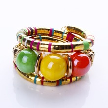 Hot Sale New Fashion Jewelry Tibetan Silver Bracelets&Bangles Resin Inlay Roundness Bead Adjust 2 Colour Bangle B02351(China (Mainland))