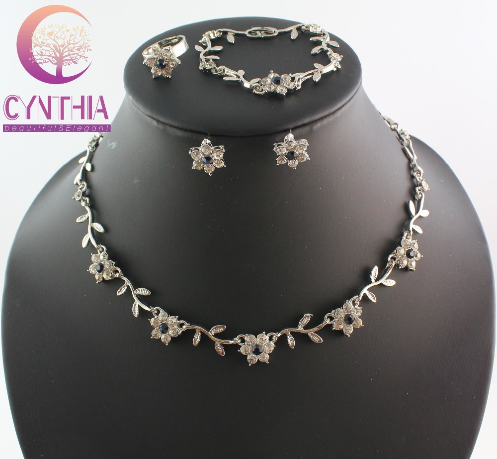 Free shipping fashion necklace set african jewellery set flower style crystal silver plated bridal jewelry sets WB-2139(China (Mainland))
