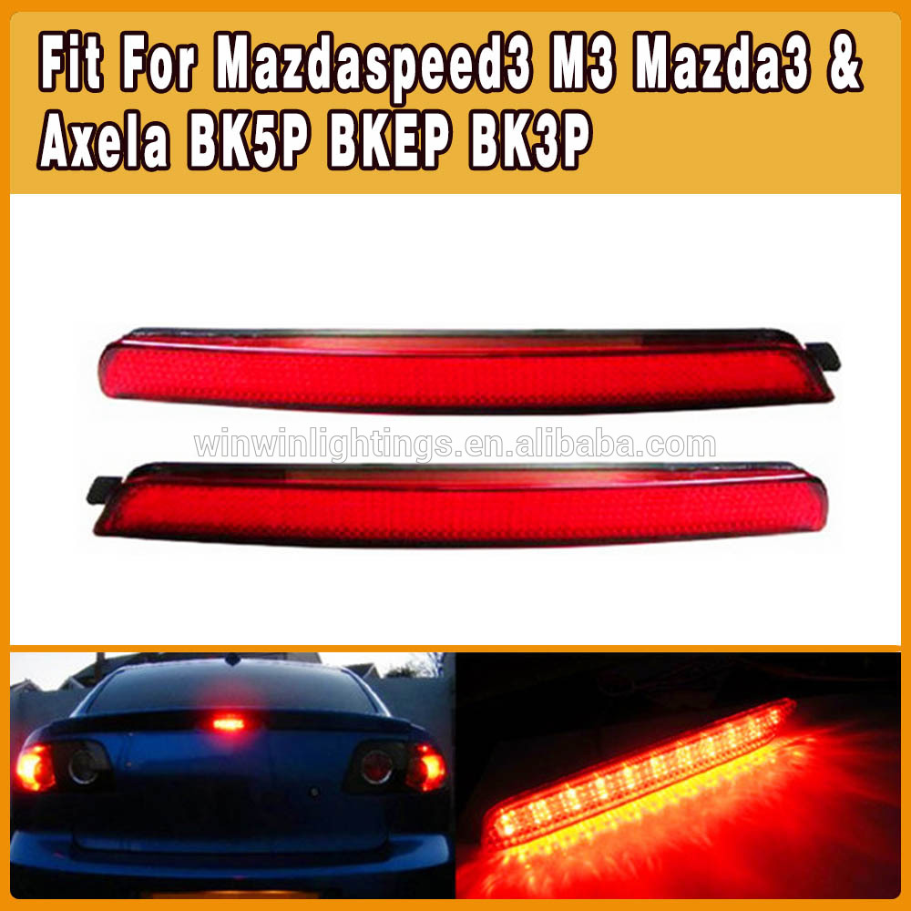 Clear Red Lens Brilliant Red Auto led rear bumper light for mazada3 Mazdaspeed3 2004-2009 Mazda3 ;2004-2009 Mazdaspeed3(China (Mainland))