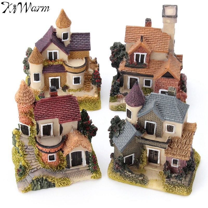 Cute mini resin house miniature house fairy garden micro for Figurine decoration jardin