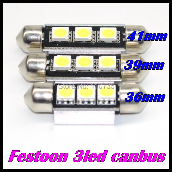 1 36mm 39mm 41mm Canbus 3 LED 5050 SMD festoon 3smd 3led Car Festoon Dome Light Lamp Bulbs White Lighting - GZ Auto Parts Center store