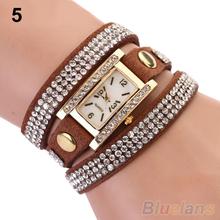 Vintage Rhinestone de línea cuadrada Weave Wrap multicapa pulsera de cuero reloj de pulsera relojes 0YUC