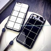 1000 pcs Case for iphone6 /6plus 5/5S 4.7 /5.5 5S protective sleeve lanyard shell chequered Lovers case