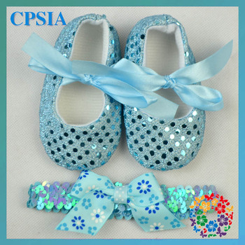 Baby Shoes Aqua Sequin shoes Wholese Baby shoes with headband set 24 sets/lot