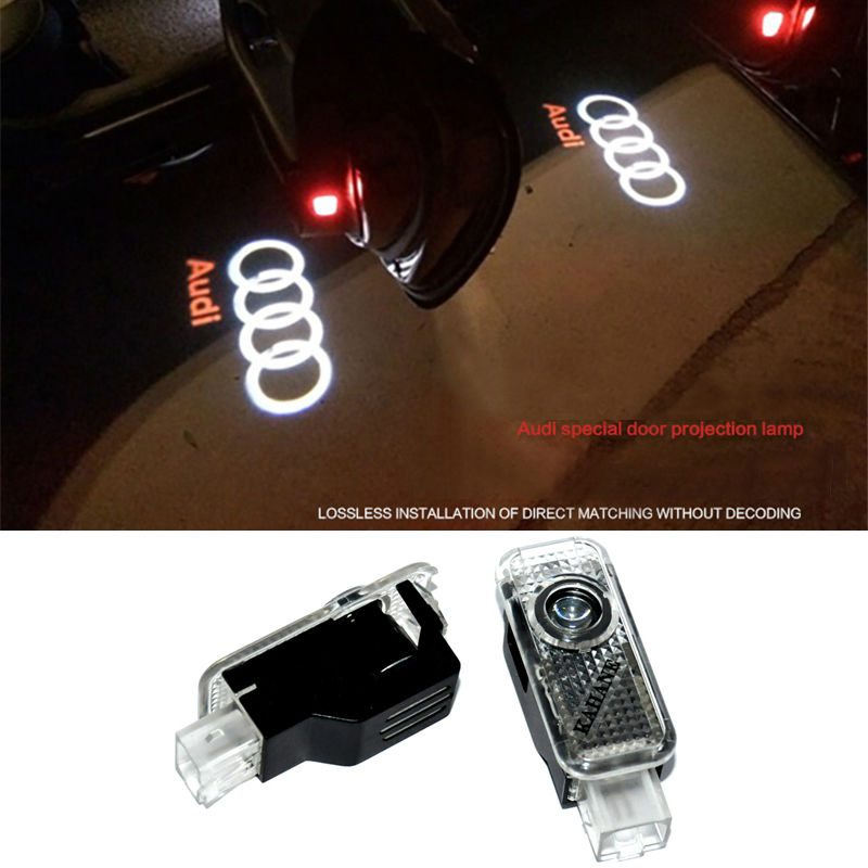 2 X Laser LED Door Courtesy projector Shadow Light For AUDI A3 A4 B5 B6 B7 B8 A6 C5 C6 Q5 A5 TT Q7 A4L 80 A1 A7 R8 A6L Q3 A8 A8L(China (Mainland))