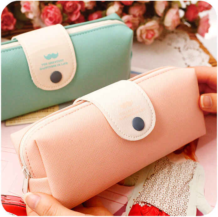 Fresh Solid Candy Color Mustache Pattern PU Leather Pencil Bag Pen Bag FOD<br><br>Aliexpress