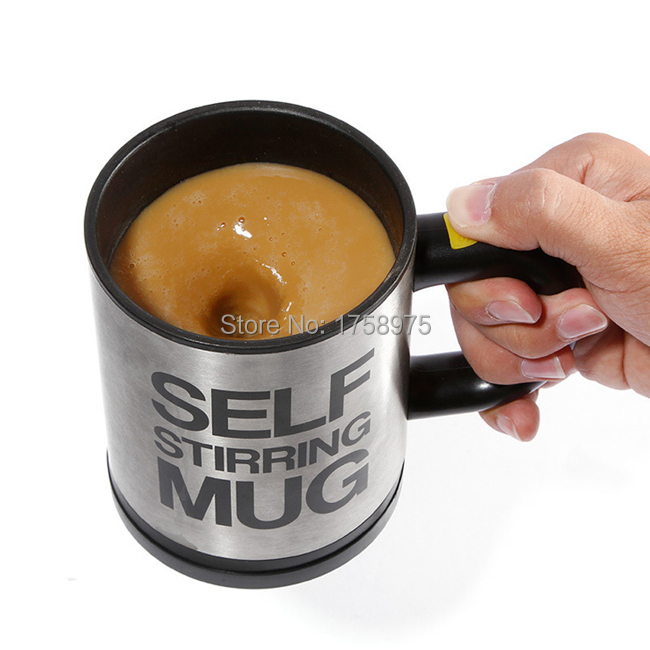 Best Promotion Creating Stainless Steel Electric Lazy Self Stirring Mug Automatic Mixing Tea Coffee Cup Office Home(China (Mainland))