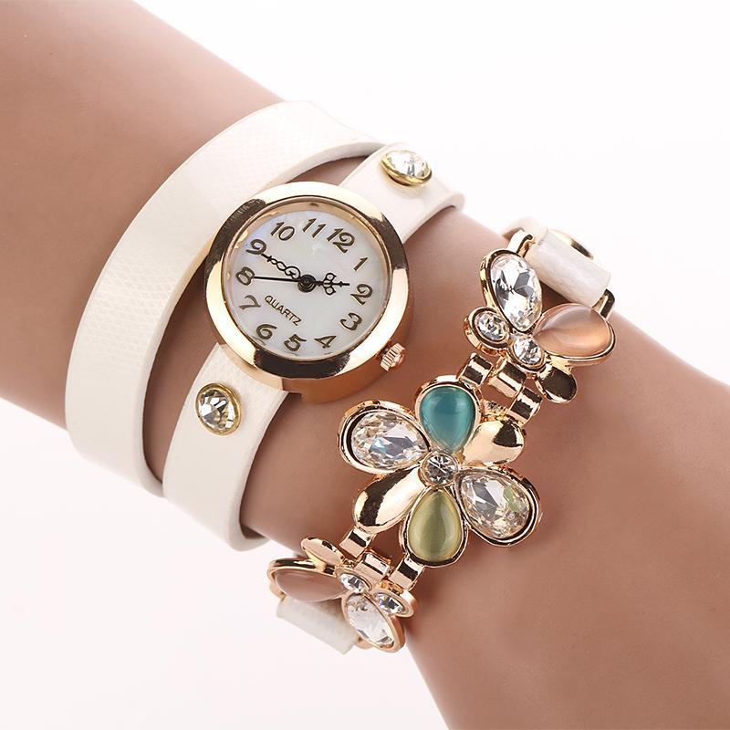 2016 New Women Leather Strap Watches Flower Bracelet Women Dress Watch Wristwatches Top Brand Opal Girl