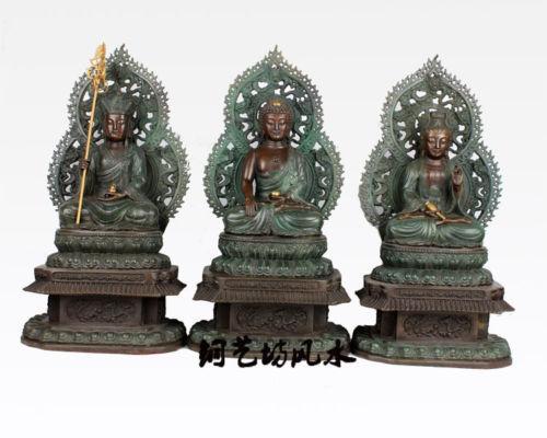 "17"" China Bronze Tibet three Shakyamuni Guanyin Earth Store Buddha Statue Healing Medicine Decoration 100% Brass Bronze(China (Mainland))"