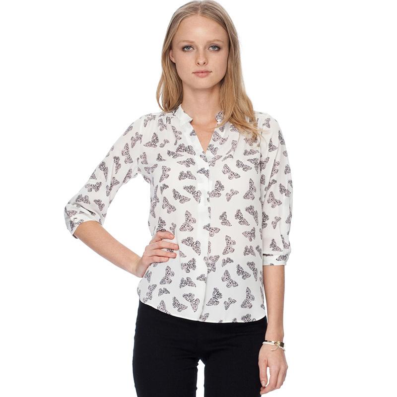 Camisa Feminina Blusa Richcoco Fresh Hand-painted Butterfly Print Slim Collar Single Breasted Seven Sleeve Chiffon Shirt D861(China (Mainland))