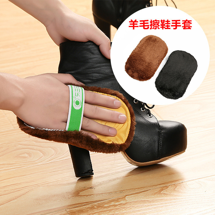 Free shipping 2pcs/set Cleaning Gloves Shoe Care Shoe Brush Home Soft Wool Polishing Shoes Clean GYH(China (Mainland))