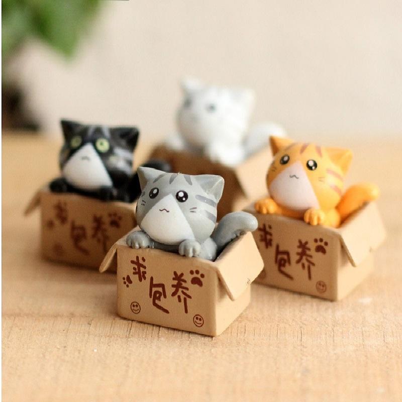 4pcs/set 3cm Mini Cat Kawaii Resin Lovely Baby Animals Toys Kids Toys Birthday Gift D57(China (Mainland))