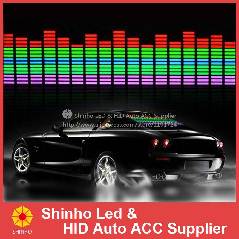 90 x 25cm Sound Activated EL Sheet Car Music Equalizer Sticker Glow Flash Panel led Multi Color Decorative Light car Accessories(China (Mainland))
