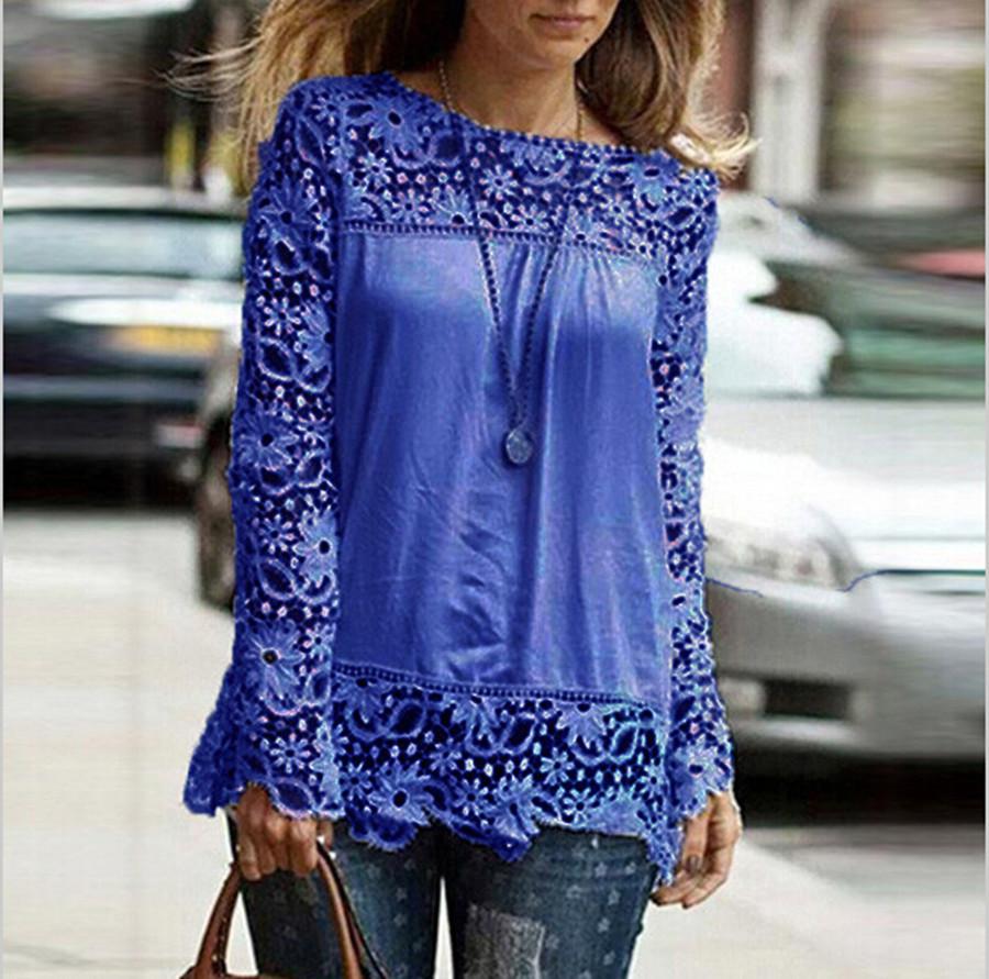 2015 nova moda feminina Lace Chiffion Blusas lindo camisas de manga comprida oco Crochet Tops Blusas Femininas Hot venda