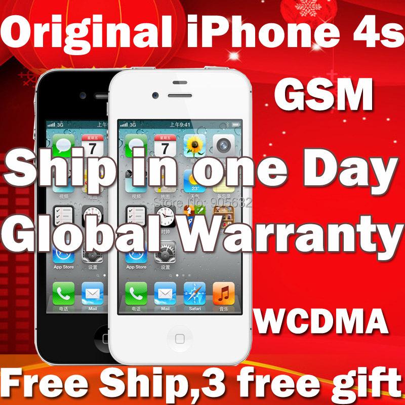 Original Apple iPhone 4s iphone4s 16GB / 32GB Unlocked IOS 8.1 GSM/WCDMA Mobile Phone Smartphone(Hong Kong)