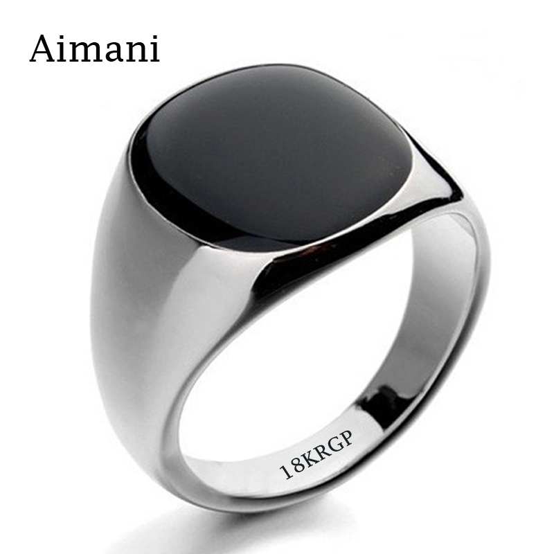 Never Fade 316L Stainless Steel Ring Gold Filled With 18KRGP Stamp Black Onyx Stone CZ Engagement Wedding Ring Wholesale BKJZ045(China (Mainland))