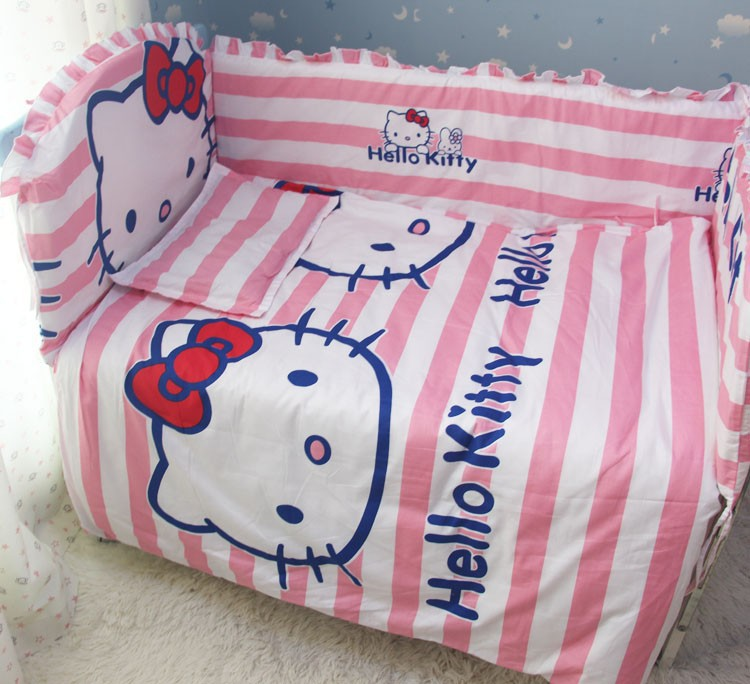 Promotion! 6pcs Hello Kitty bedding baby cradle crib bedding baby comforter crib set,include (bumpers+sheet+pillow cover)(China (Mainland))