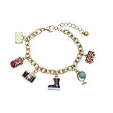 2016 top fashion jewelry drop Glaze enamel alloy bracelet woman traveling around the world with free shipping Hot Sale Christmas(China (Mainland))