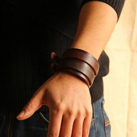 Leather Bracelet Men Jewelry Steampunk Braclets Mens Vintage Pulseira Masculina Punk Rock Wristband Pulsera Hombre - Rockstar fashion store