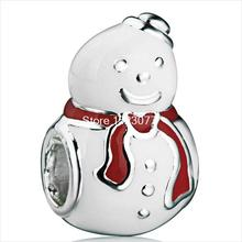 New Red Scarf Cute Diy Snowman Design 925 Sterling Silver European Bead Charm For Snake Bracelets Women Fashion Jewelry(China (Mainland))