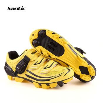 Santic MTB Велоспорт Обувь zapatillas Велоспорт Желтые Ботинки Горные Ботинки Велосипеда Мужская Велоспорт Обувь S12011Y