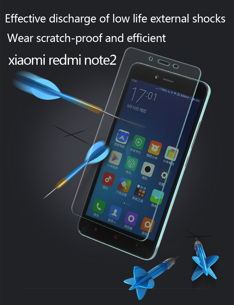 For xiaomi redmi note2 Tempered Glass Pervious to light explosion-proof toughened membrane For xiaomi redmi note2 Lifelike color