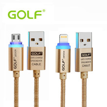 Original Golf Crystal LED light 8Pin Micro USB Data Charging Cable 2.1A Output For iPhone 5s 6 6s 6plus iPad For Samsung Xiaomi