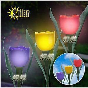 New Solar Powered Tulip Flower Light Garden Landscape Light Solar Lawn lamps Outdoor Light Decorations(China (Mainland))
