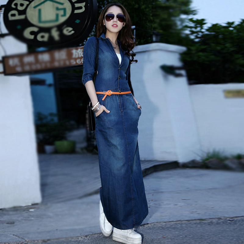 2015 Brand Summer Fashion Style Casual Dresses Long Denim Women Slim Waist One-piece Shirt Dress Blue - Good faith store