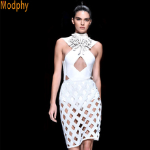 2016 New Style Fashion Women Color White Sexy Bandage Dresses Hollow out V-neck Tank Dress Beauty Party Dresses Drop Ship HL525(China (Mainland))
