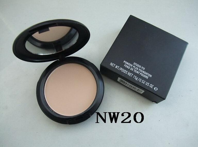 1PCs Brand MC Makeup Studio Fix Powder cake Plus Foundation, compact foundat, face powder + puffs , 15g free shipping(China (Mainland))