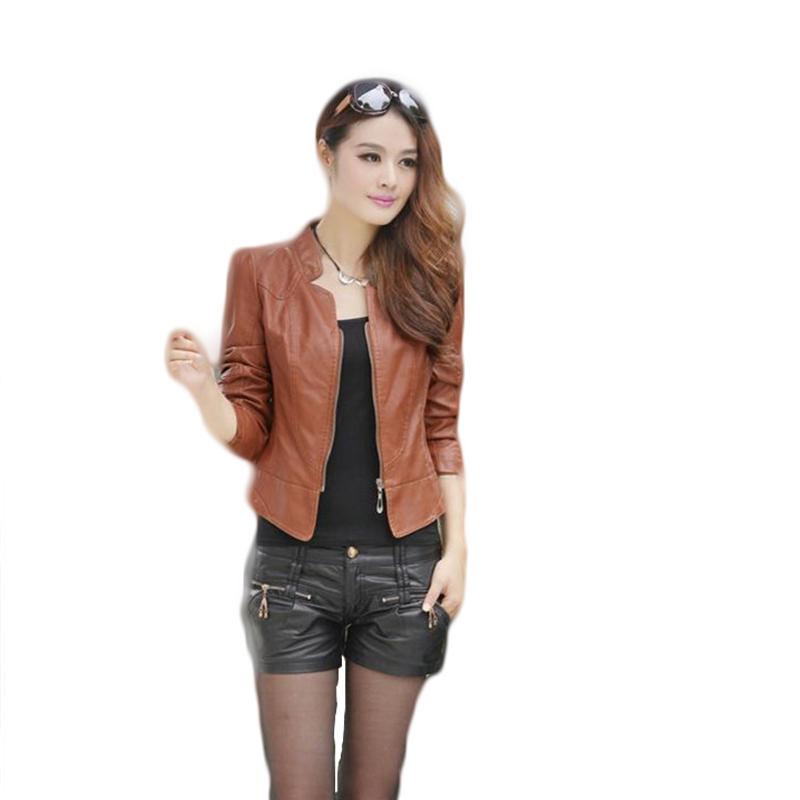 Plus Size Slim Womens WinterJackets And Coats Short Coat Three QUarter Sleeve Mandarin Collar Solid Ladies Leather Jacket Zipper(China (Mainland))
