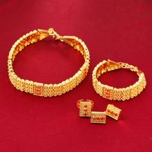 24k Gold Plated Ethiopian Chokers Necklace Earrings Ring Bracelet Eritrea Habesha Wedding Set(China (Mainland))