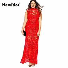 Nemidor Women High Quality Full Lace Red Sleeveless Evening 3XL 4XL 5XL 6XLPlus Size Maxi Party Maxi Dress(China (Mainland))
