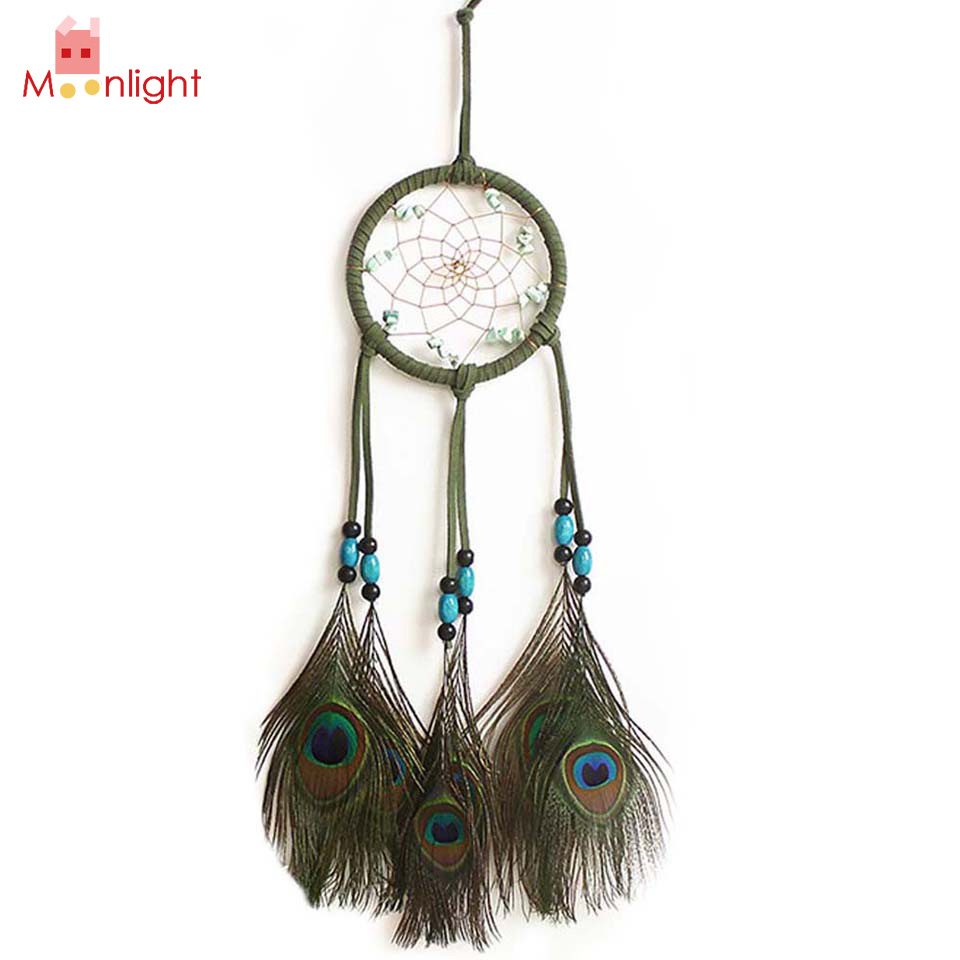 BEST Indian Dream Catcher Peacock Feather Wall Hanging Decoration Ornament  Green