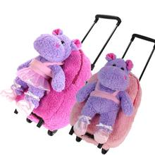 1 - 6years child disassembly trolley luggage trolley school bag purple hippo dolls female backpack(China (Mainland))