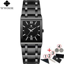 Hommes montres Top marque de luxe WWOOR or noir carré montre à Quartz hommes 2019 étanche doré homme montre-bracelet hommes montres 2019(China)