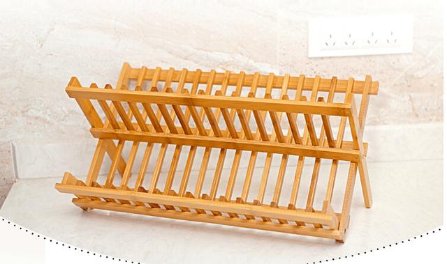 Bambusowa suszarka do naczyń 2 poziomy