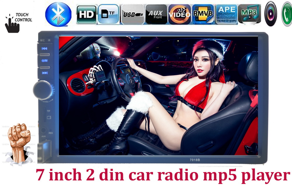hot sell Auto radio 7 Inch LCD HD 2 DIN Car In-Dash Touch Screen Bluetooth/ FM/ MP4/MP5 player Support rear view camera(China (Mainland))