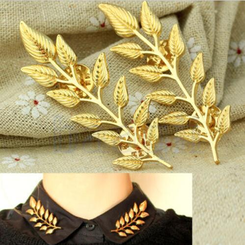 2015 New Simple High Quality Hot Sale Elegant Fashion Double Leaf Collar Pin Brooch Creative Design Fashion Jewelry For Women(China (Mainland))