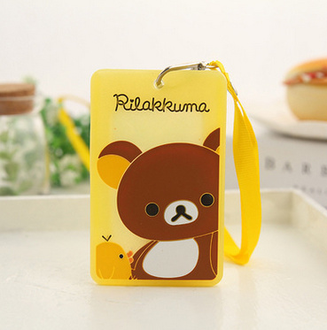 SIZE 10*6CM PVC Rilakkuma Bear Lady Girl Kid's BUS ID Card Holder Case Pouch ; With Neck String(China (Mainland))