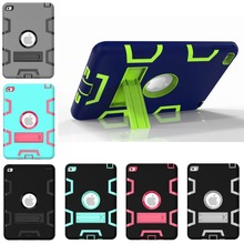 HOT! case For ipadmini4 Cover Shockproof Kids Protector Case for apple ipad mini 4 cover PC+Silicone Hybrid Robot With Kickstand(China (Mainland))