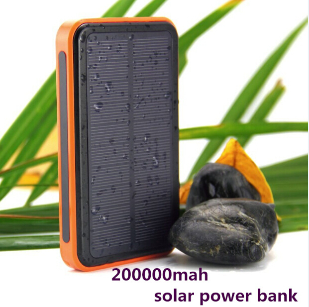 2015 new large capacity 200000 mAh waterproof portable solar power bank usb solar charger for mobile phone/tablets/iphone 6(China (Mainland))