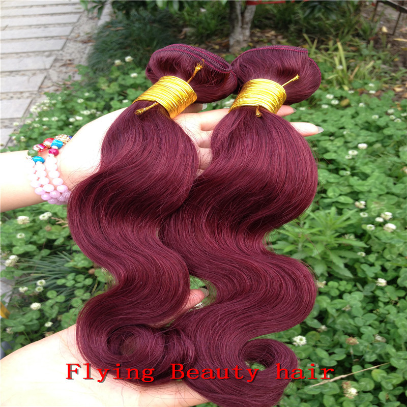 peruvian virgin hair 99j burgundy color body wavy 3/lot 100% human extension - Flying Beauty Hair Products Co.,Ltd store