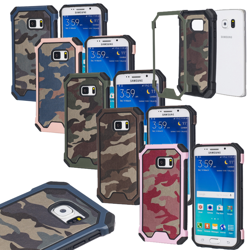Hybrid 2 IN 1 PVC +TPU Army Camouflage Protective Case for Samsung Galaxy S6 S6 Edge Shockproof Cover(China (Mainland))