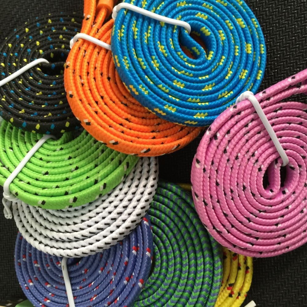 original quality 3FT/1M Braided noodle Wire 8pin USB Cable Sync Woven Charging Charger cable iPhone 5 5S 5G 6 plus - ZAOZAO'S STORE store