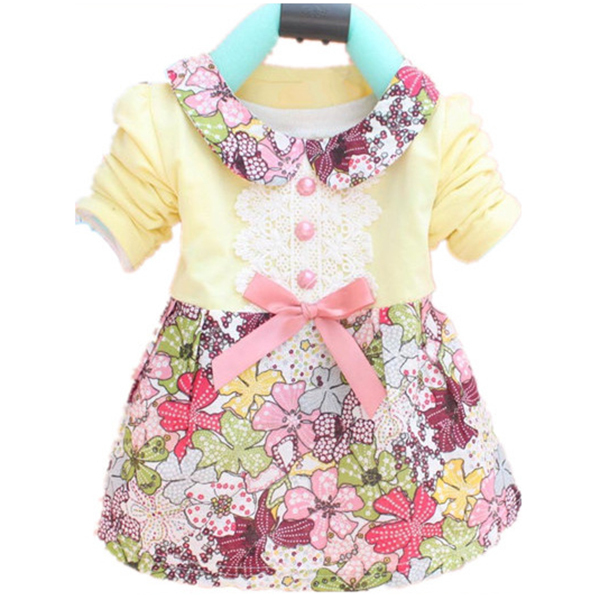Toddler Baby Girls Floral Princess Dress Bowknot One Piece Kids Dress Dress 0-2Y(China (Mainland))