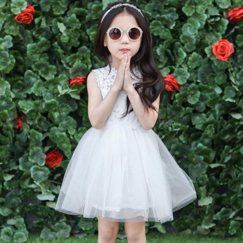 2015 summer girls white princess elegant sleeveless lace dress with necklace cheap princess girl dress 5pcs/lot(China (Mainland))